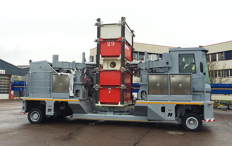 NICOLAS cask transporter handling a test load. Designed to operate in conditions down to -45°C the vehicle makes the transport of hazardous loads easy and safe.